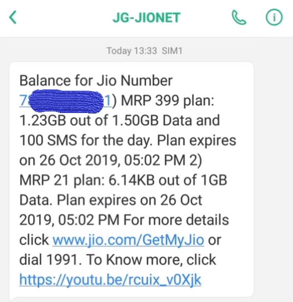 Check Jio Data Balance Using IVR Calling