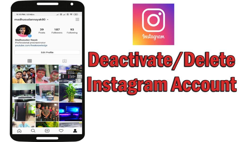 Deactivate Instagram Account Delete Instagram account