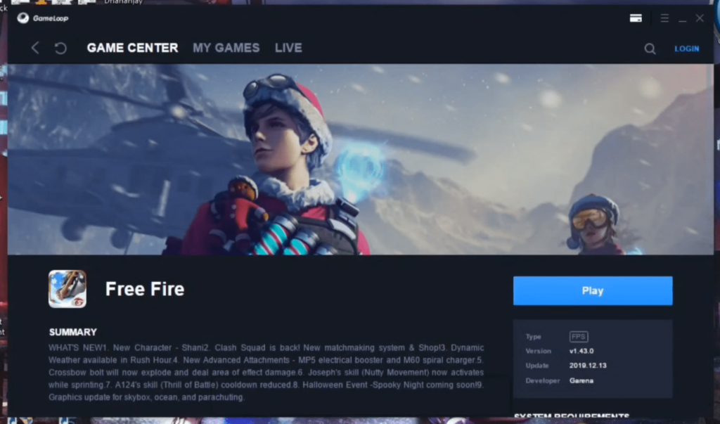 Download Free Fire for PC using Gameloop