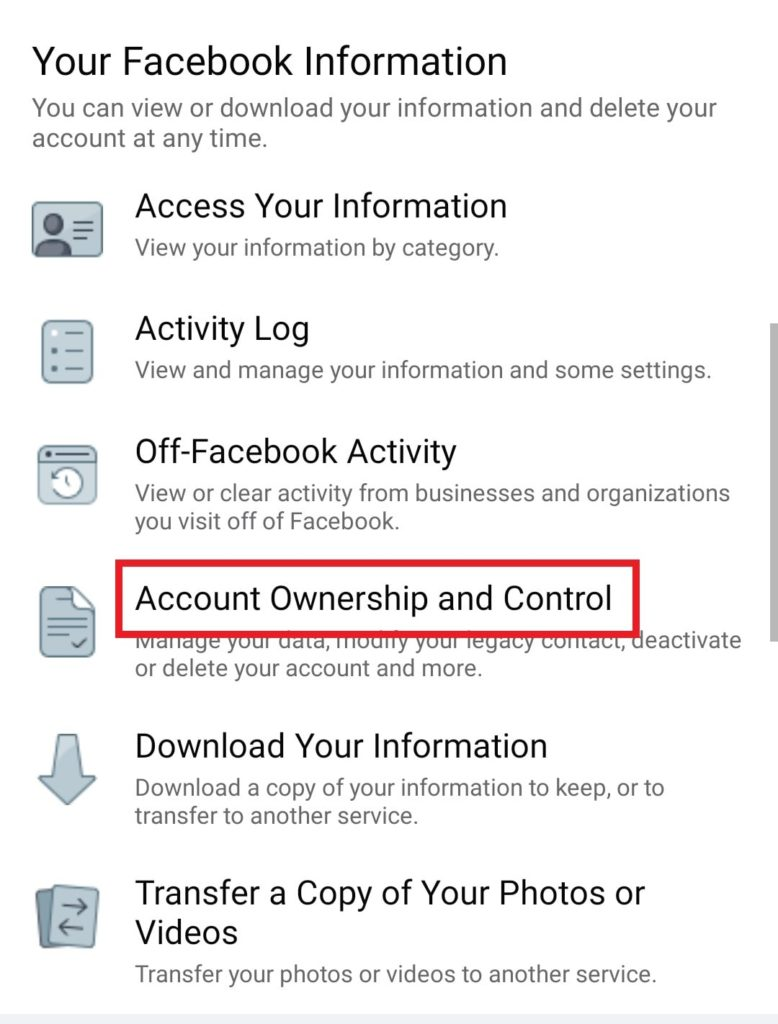 Facebook account ownership and control