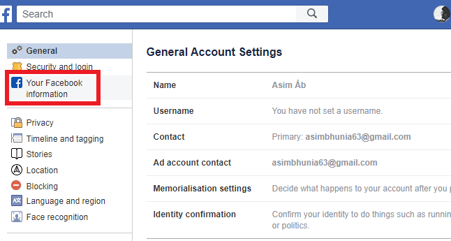 Deactivate Facebook Account from PC