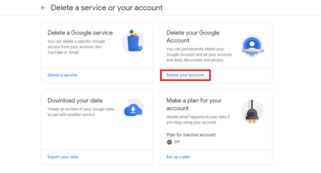 Delete Your Google Account on PC