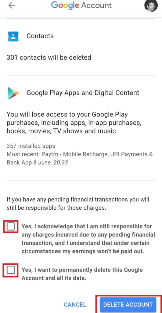 Delete Your Google Account from Android