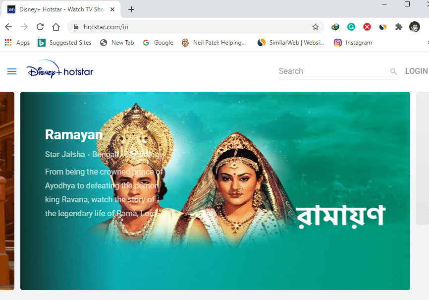 watch hotstar on official website
